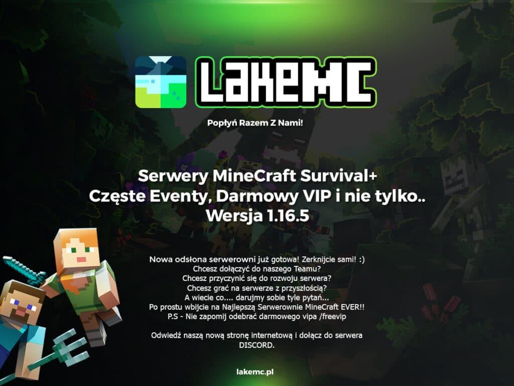 plakat serwera minecraft lakemc survival